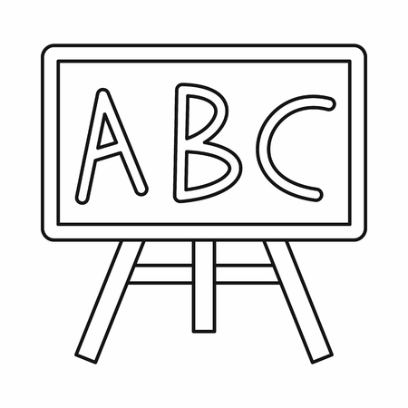 Chalkboard with the leters ABC icon in outline style isolated vector illustration Stockfoto