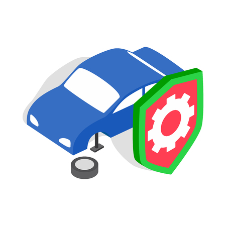 Repair machine icon in isometric 3d style isolated on white background. Garage symbol 矢量图像