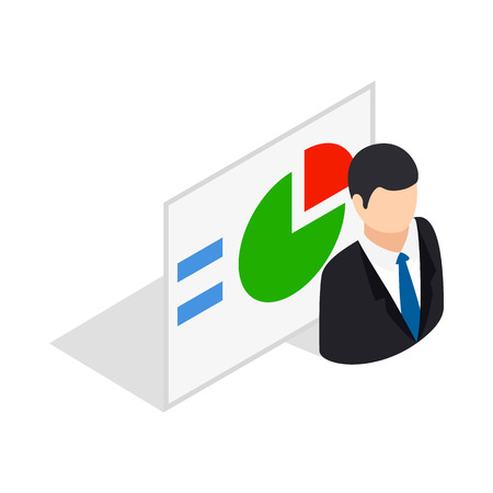 compute: Man and statistics icon in isometric 3d style isolated on white background. Compute symbol Illustration