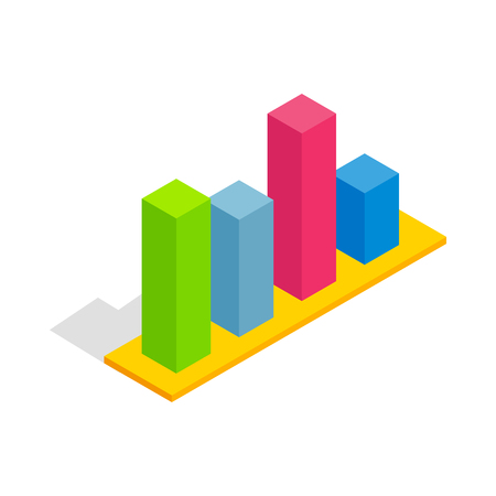 compute: Chart in columns icon in isometric 3d style isolated on white background. Compute symbol