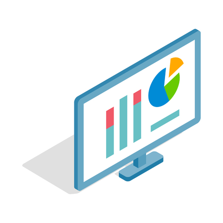 compute: Monitor with charts icon in isometric 3d style isolated on white background. Compute symbol
