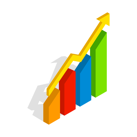 compute: Chart arrow up icon in isometric 3d style isolated on white background. Compute symbol Illustration