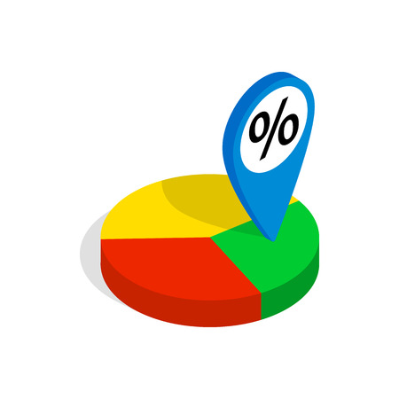 compute: Pie chart icon in isometric 3d style isolated on white background. Compute symbol