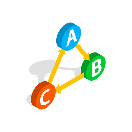 complete solution: ABC button icon in isometric 3d style isolated on white background. Choice symbol Illustration