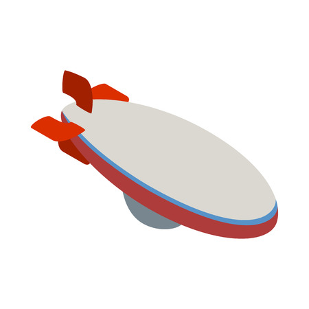 aerostat: Aerostat icon in isometric 3d style isolated on white background. Air transport symbol