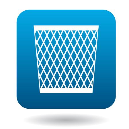 cesto basura: Malla icono de la papelera de forma sencilla sobre un fondo blanco