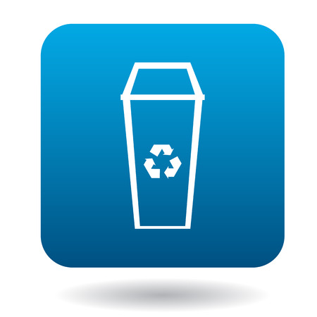 landfill: Recycle bin icon in simple style on a white background