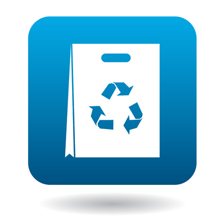 commercial recycling: Paper shopping bag with recycling symbol icon in simple style on a white background