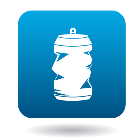 crushed aluminum cans: Crumpled empty soda or beer can icon in simple style on a white background