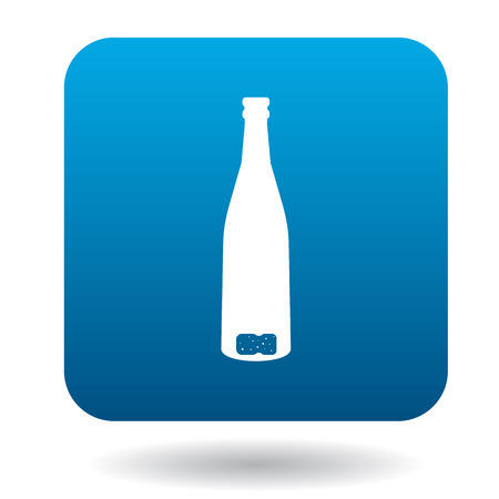 discarded: An empty wine bottle icon in simple style on a white background