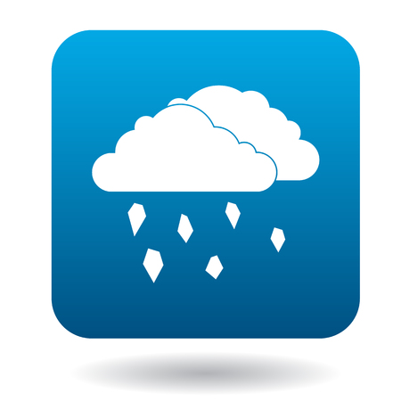 hail: Clouds and hail icon in simple style on a white background Illustration