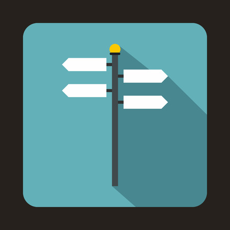 road design: Street sign icon in flat style with long shadow. Indication symbol Illustration