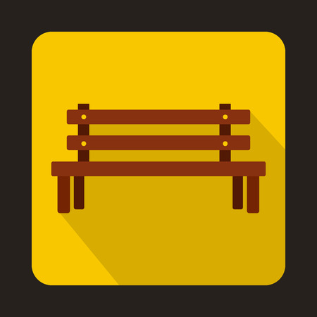 wooden bench: Wooden bench icon in flat style with long shadow. Seat symbol