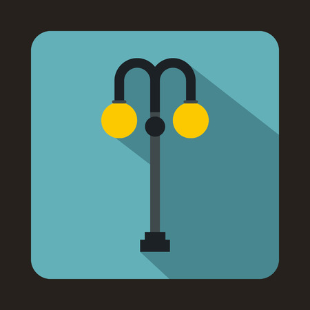 street lamp: Street lamp icon in flat style with long shadow. Light symbol Illustration