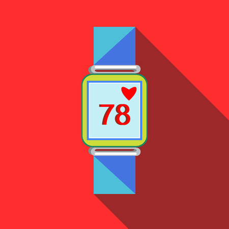 heart rate monitor: Pulsometer heart rate monitor watch icon in flat style with long shadow