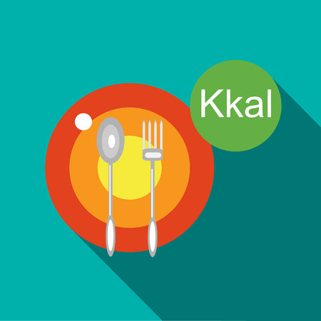 calories: Calories diet icon in flat style with long shadow Illustration