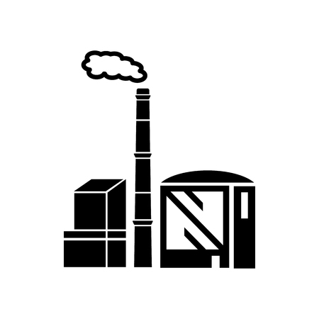 Chemical: Chimney and building of chemical plant icon in simple style isolated on white background. Chemistry symbol Illustration