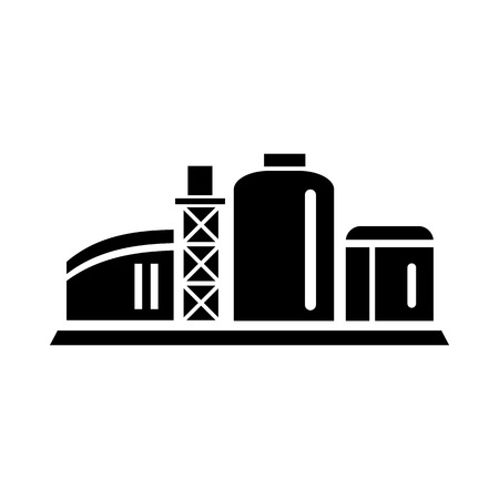 chemical plant: Chemical plant icon in simple style isolated on white background. Chemistry symbol
