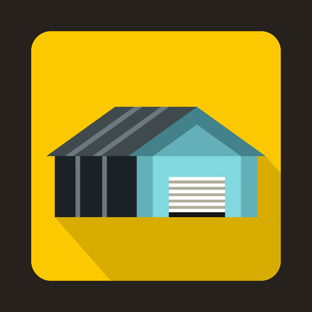 automatic doors: Garage with automatic gate icon in flat style with long shadow. Building symbol Illustration