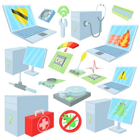 computer repair: Computer repair icons in cartoon style. Computer service set collection isolated vector illustration Illustration