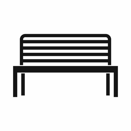 tubular: Bench icon in simple style. Seat symbol isolated vector illustration