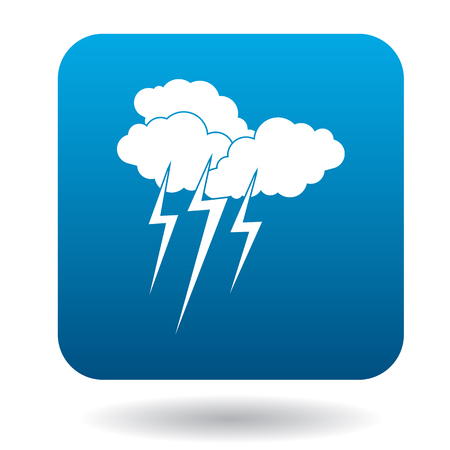 lightnings: Clouds with lightnings icon in simple style on a white background