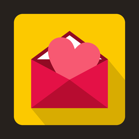 recibo: sobre abierto con el icono del corazón de color rosa en el estilo plano sobre un fondo amarillo