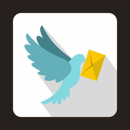 carrier pigeons: Dove carrying envelope icon in flat style on a white background