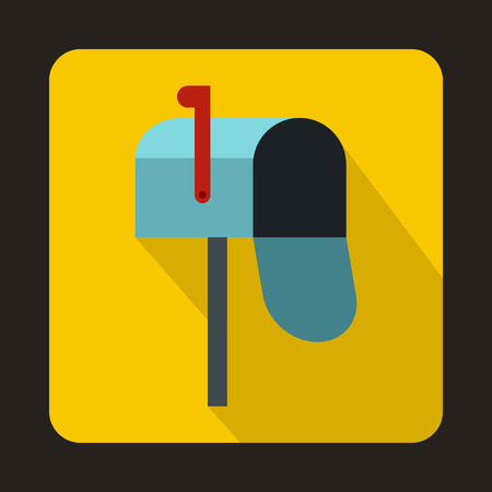 await: Open blue mailbox icon in flat style on a yellow background