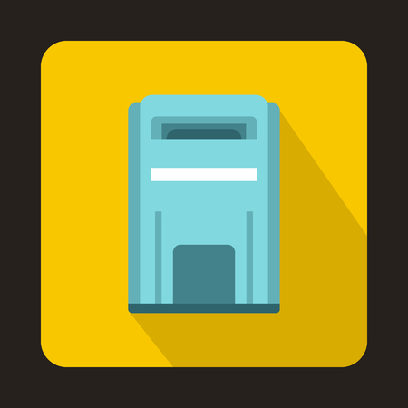 await: Blue square post box icon in flat style on a yellow background Illustration