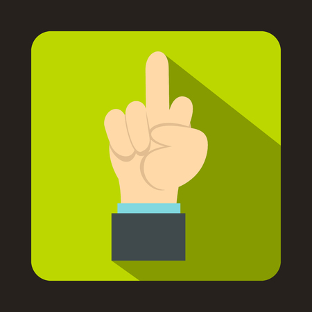obscene gesture: Middle finger hand sign icon in flat style on a green background Illustration