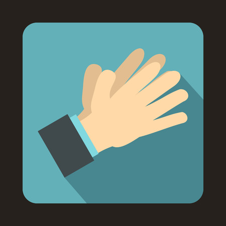 applauding: Clapping applauding hands icon in flat style on a baby blue background