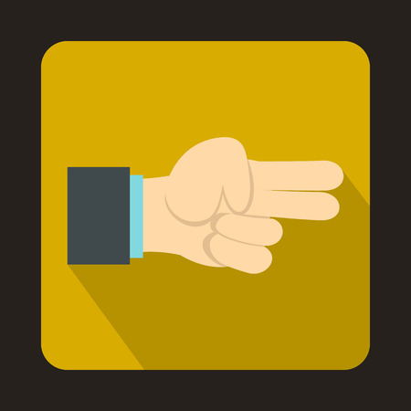 winning bid: Hand showing two fingers icon in flat style on a yellow background Illustration