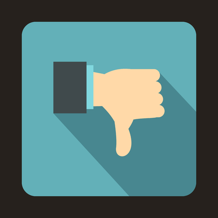 expressing negativity: Thumb down gesture icon in flat style on a baby blue background