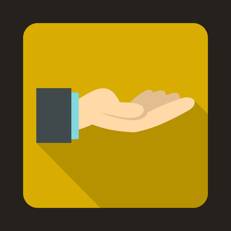 outstretched hand: Outstretched hand gesture icon in flat style on a yellow background