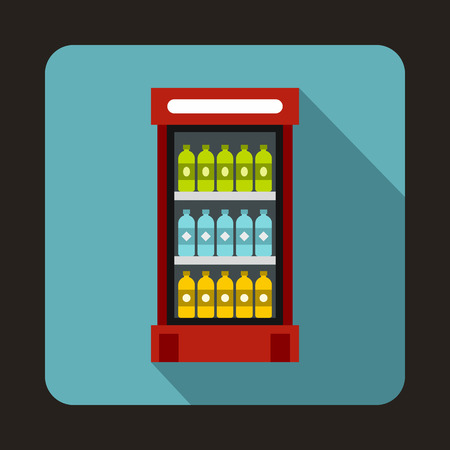 chiller: Fridge with refreshments drinks icon in flat style on a light blue background
