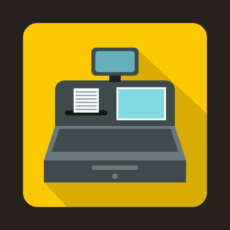 departmental: Cash register with cash drawer icon in flat style on a yellow background
