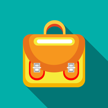 haversack: Yellow backpack icon in flat style on a turquoise background