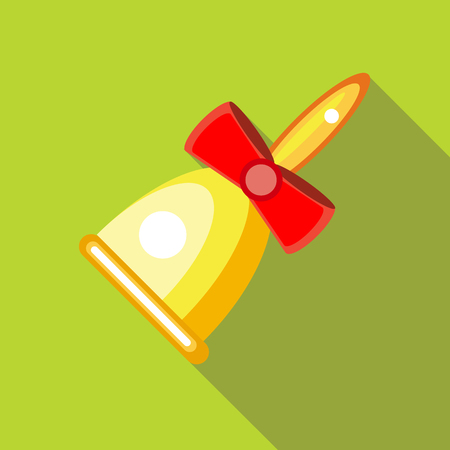 clang: Gold bell with red bow icon in flat style on a green background