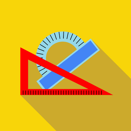 protractor: Triangular ruler and protractor icon in flat style on a yellow background Illustration