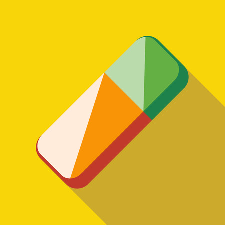 pencil eraser: Colorful rubber pencil eraser icon in flat style on a yellow background