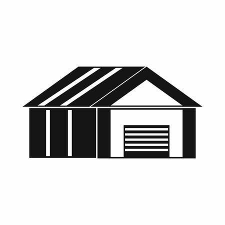 automatic: Garage with automatic gate icon in simple style. Building symbol isolated vector illustration