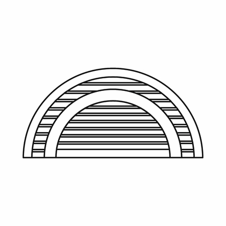 hangar: Hangar icon in outline style. Building symbol isolated vector illustration