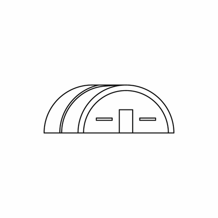 hangar: Large hangar icon in outline style. Building symbol isolated vector illustration Illustration
