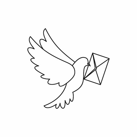 carrier pigeons: Dove carrying envelope icon in outline style isolated vector illustration