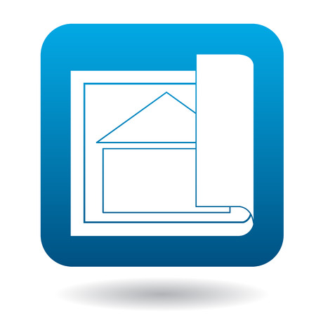 specify: House project icon in simple style in blue square. Drawings symbol