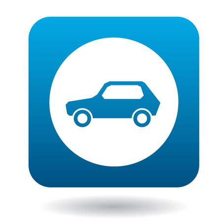 two lane highway: Sign cars icon in simple style in blue square. Rules of the road symbol