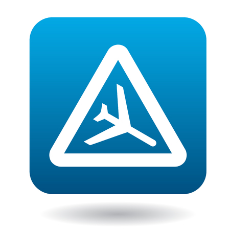 aerodrome: Sign airport icon in simple style in blue square. Rules of the road symbol