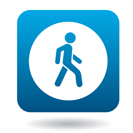 pedestrian walkway: Man on a pedestrian crossing icon in simple style in blue square. Rules of the road symbol Illustration
