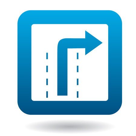right of way: Sign right way icon in simple style in blue square. Rules of the road symbol